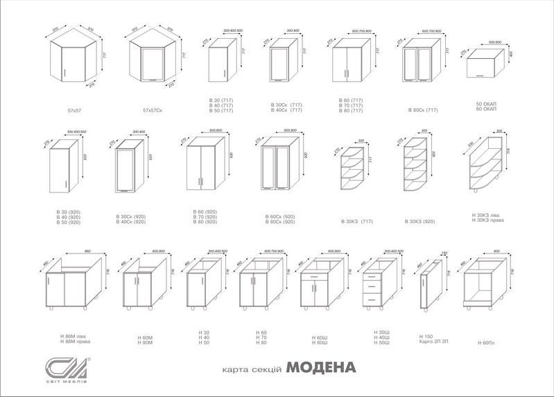 кухонные модули стандартные размеры чертежи фото часто